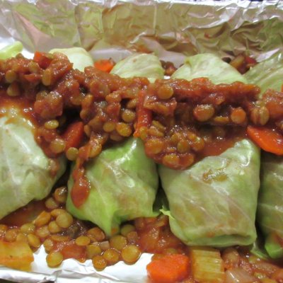 Cabbage Rolls with Beet Slaw