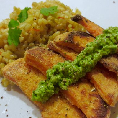 Cilantro Almond Pesto Over Crispy Sweet Potatoes and Turmeric Ginger Brown Rice