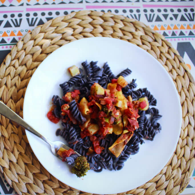 Black Bean Rotini with Summer Vegetable Ragu