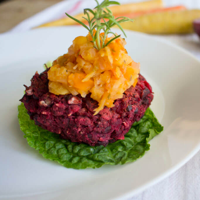 Beet & Black Bean Burgers with Rosemary Carrot Chutney