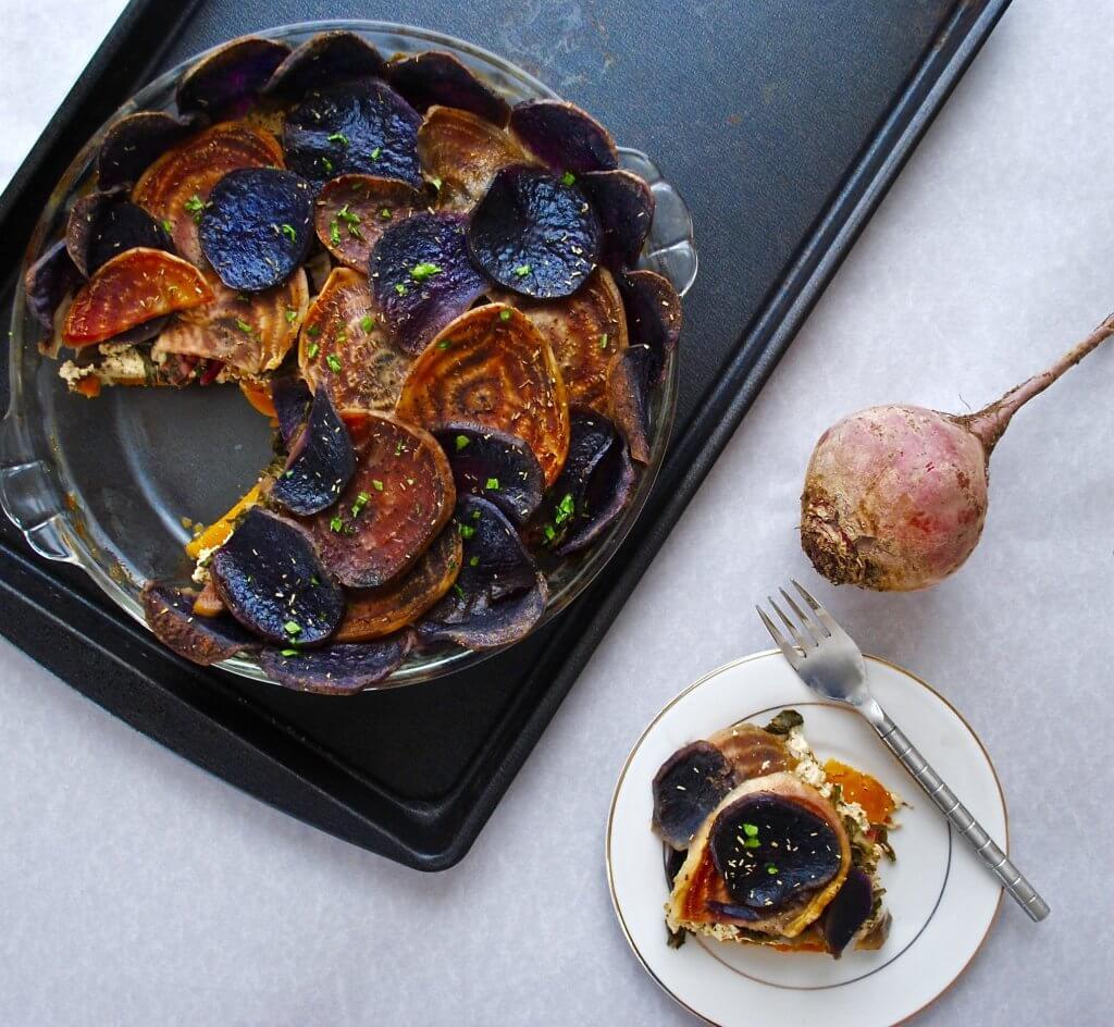 Beet and Potato Tart with Rosemary Tofu Ricotta