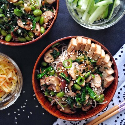 New Year's Green Ginger Soba Noodle Bowl