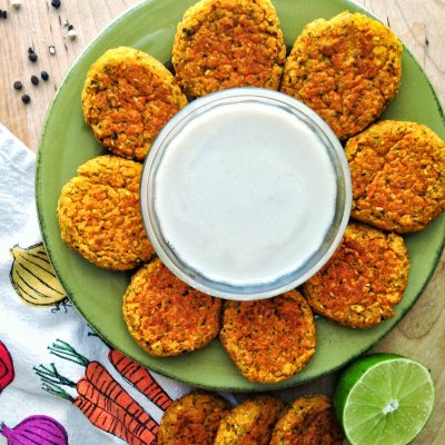 Golden Carrot Falafel with Peppercorn Infused Coconut Lime Sauce