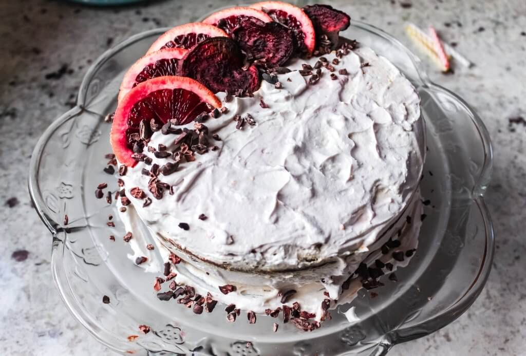 Vegan Chocolate Beetroot Cake with Sweet Potato Chocolate Ganache & Blood Orange Coconut Frosting