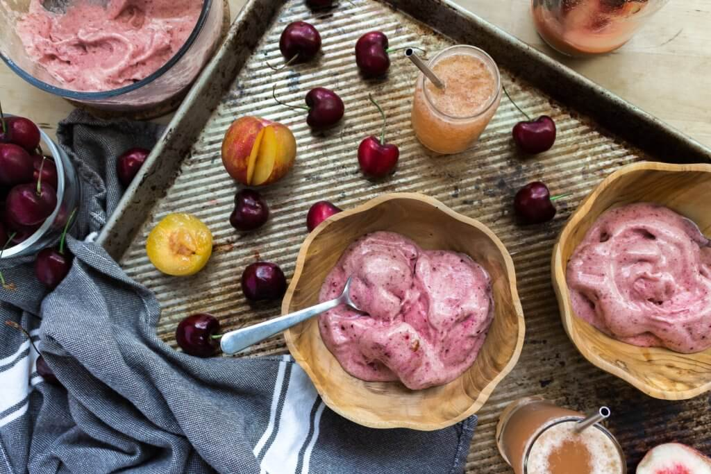Cherry Nice Cream with Peach, Plum & Rose Tonic