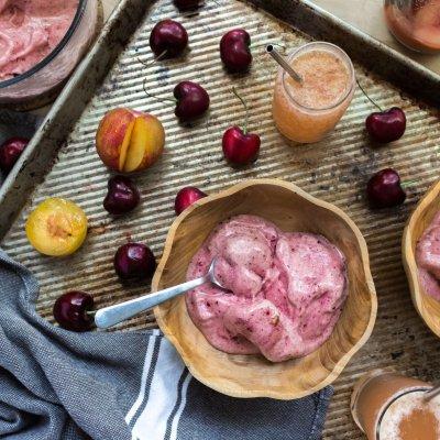 Cherry Nice Cream with Peach, Plum & Rose Tonic