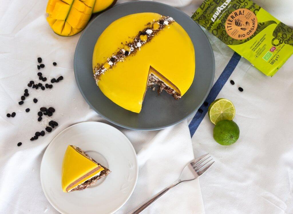 Vegan, gluten-free Coffee Mango Mousse Tart