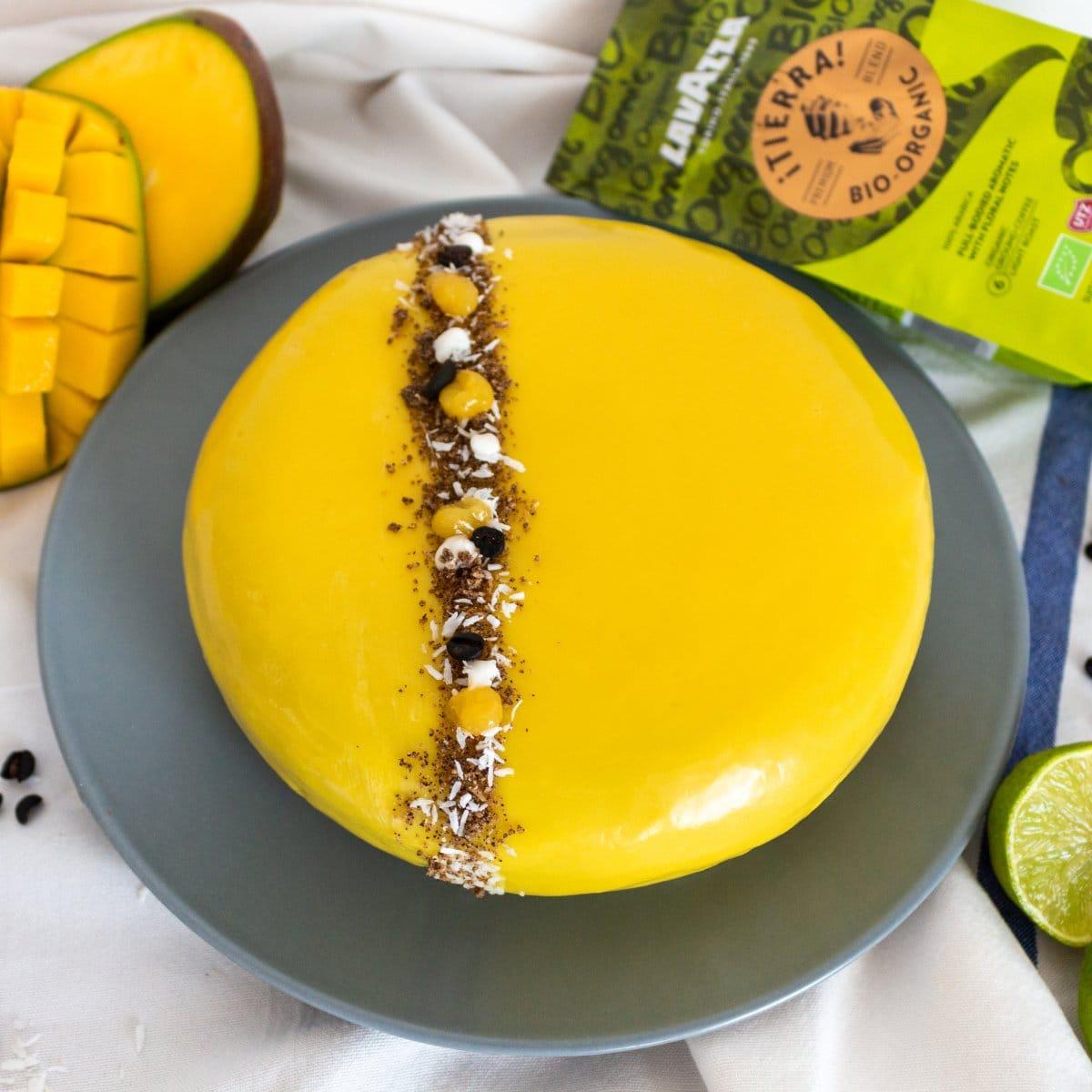 Vegan Coffee Mango Mousse Tart